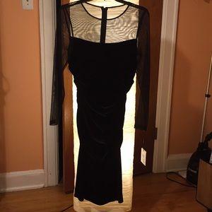 Elegant velvet dress with sheer sleeves worn once